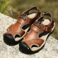 夏季新款男士透气真皮凉鞋户外休闲防滑沙滩鞋包头时尚青年7238